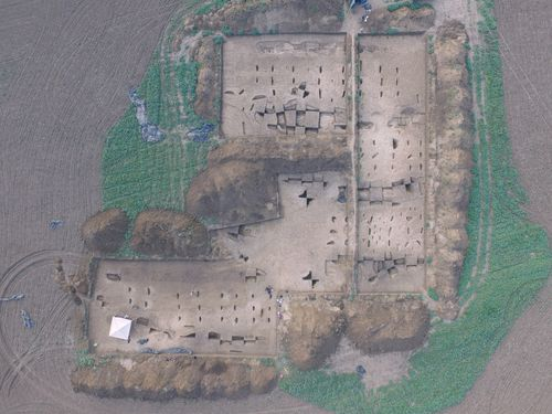 Aerial photo of the excavation area of an Early Neolithic settlement near Vráble in Slovakia