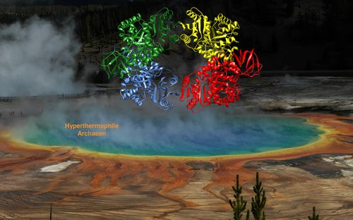 Visualization of a crystal structure in front of a hot spring