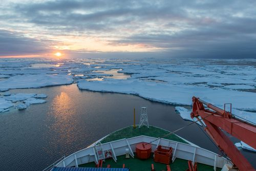 View on ice floes from the ship bridge of the research vessel Polarstern.