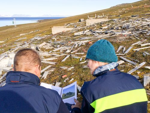 Visible traces of former settlements on Spitsbergen