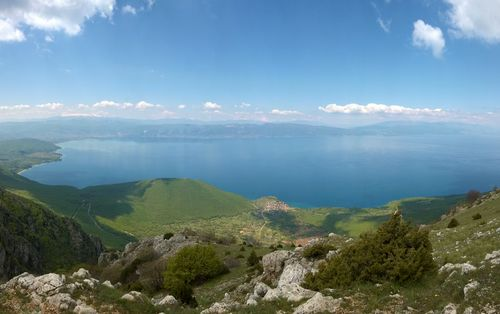 Lake Ohrid on the border between Albania and Northern Macedonia