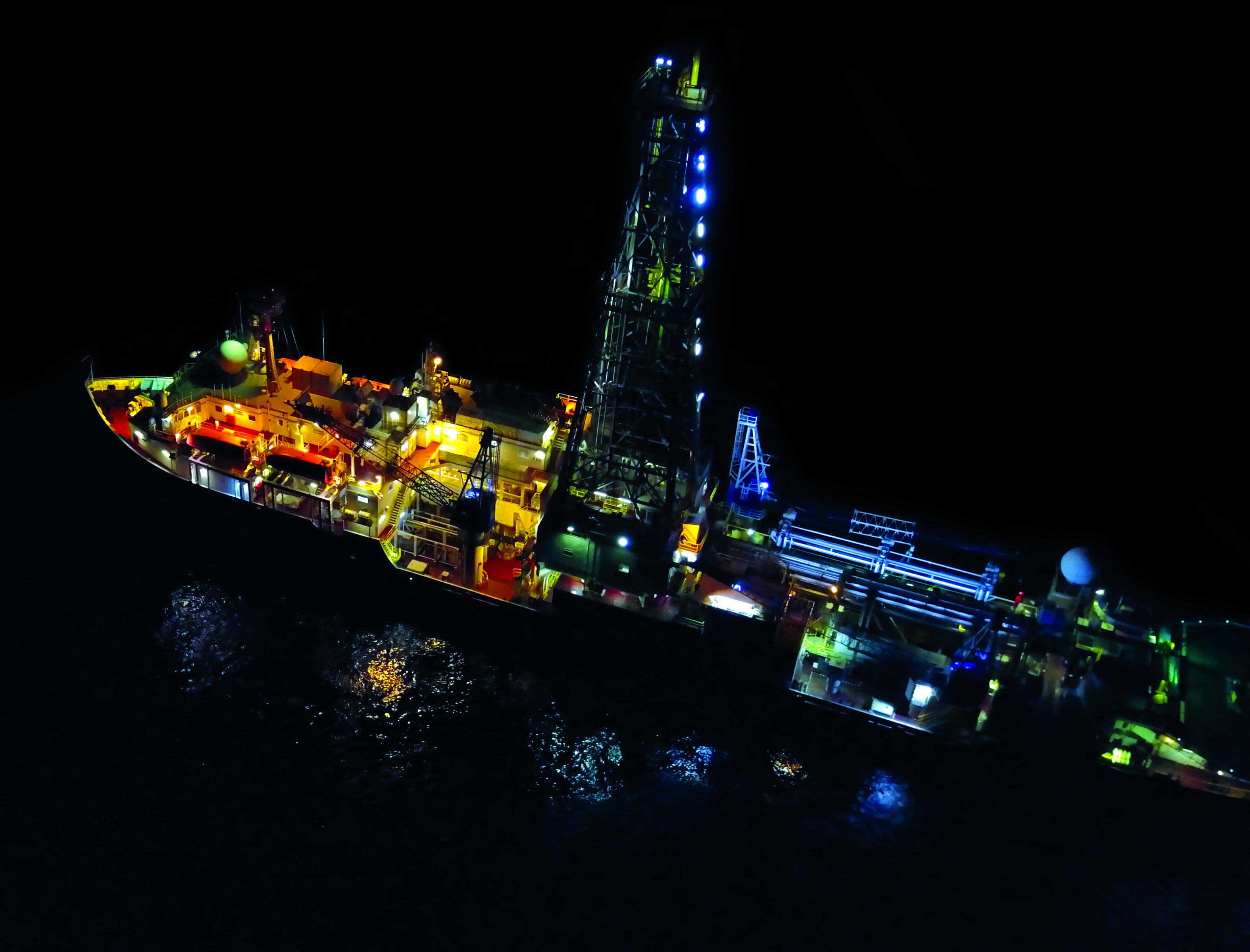 Night vision of the scientific drillship