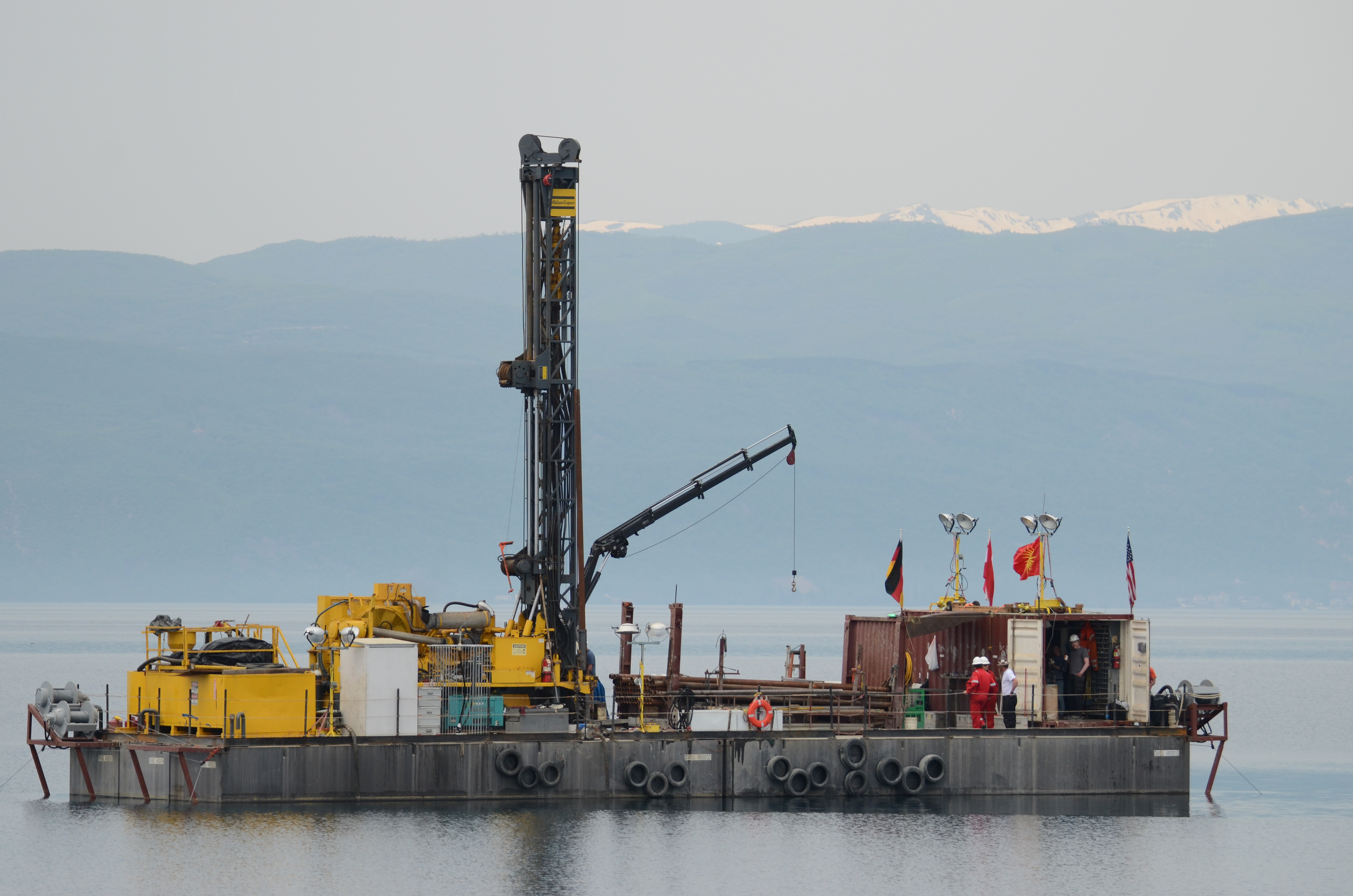 Drilling platform for deep drilling in Lake Ohrid.