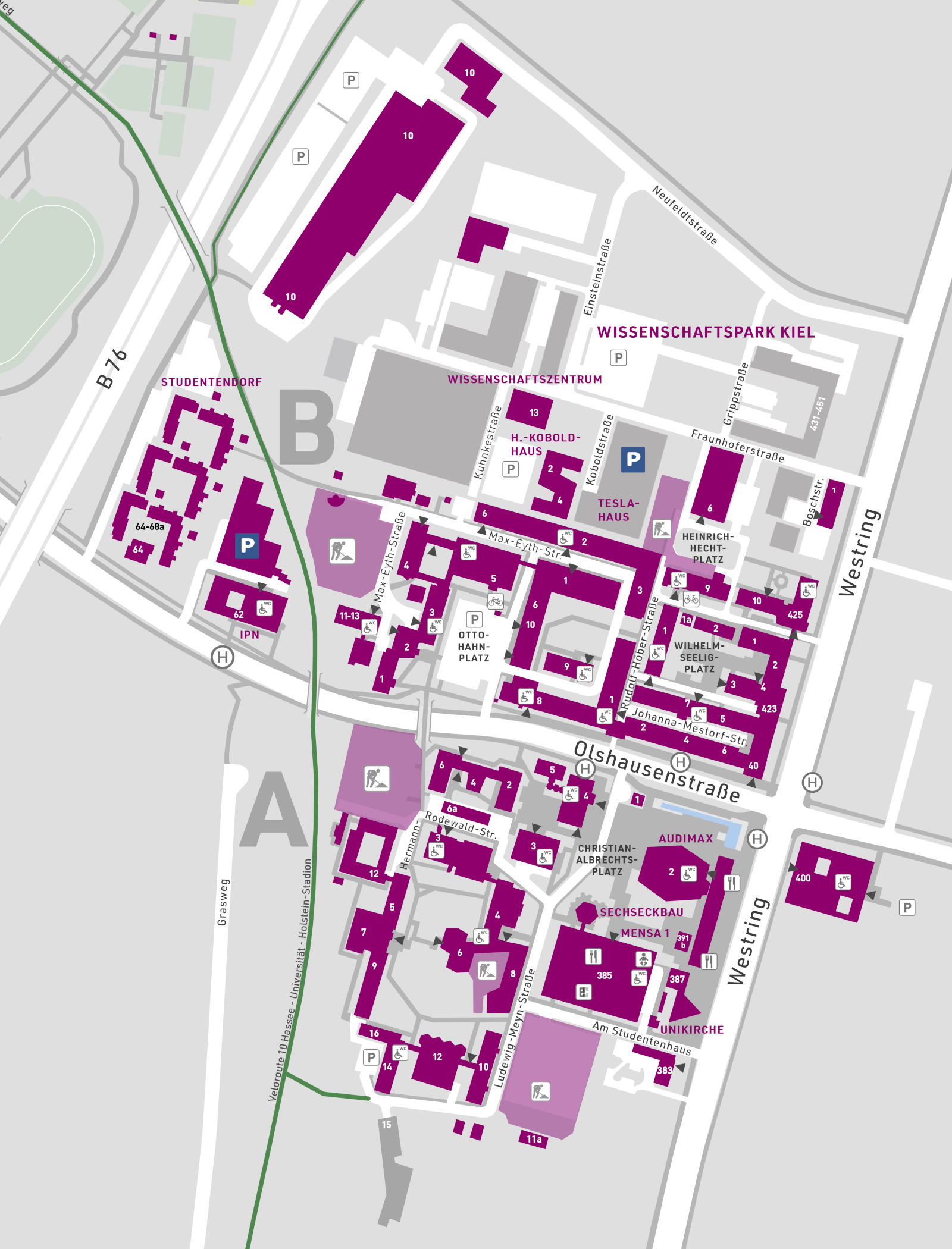 Campus map of CAU Sectors A and B