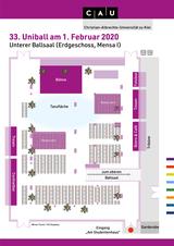 Saalplan Erdgeschoss 31. Universitätsball am 27. Januar 2018, Klick vergrößert das Bild